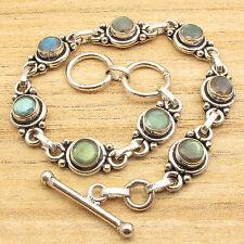 "Natural LABRADORITE Silver Plated Bracelet 7.5"" 8 Gemstone Jewelry"