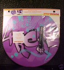 *PURPLE*MAGNETIC MEMO BOARD*ROUND*MARKERS*MAGNETS*NIP*