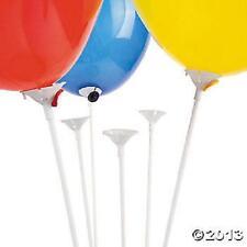 25 White BALLOON STICKS - - - - plastic holder accessories long tall 1 piece set