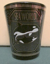 SEA WORLD   BLACK & GOLD SHORT SHOT GLASS  FEATURING THE KILLER WHALES