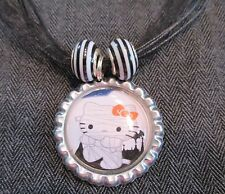 HELLO KITTY HALLOWEEN Ribbon Bottle Cap Bling Charm Necklace Beads Cat Mummy Bow