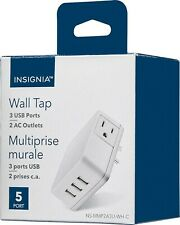NEW Insignia AC Wall Outlet Tap Charger White 3-Port USB Power Adapter Splitter