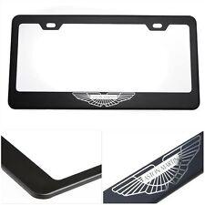 Black Stainless Steel License Plate Frame Laser Engrave Logo for Aston Martin