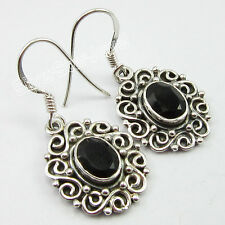 """FASHIONABLE ! 925 Pure Silver BLACK ONYX LADIES' Earrings 1.3"""" FACTORY DIRECT"""