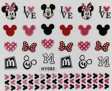 Nail Art 3D Decal Stickers Mouse Love M Hearts Bows HY093