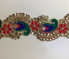 ATTRACTIVE INDIAN PEACOCK FEATHER EMBROIDERY & CRYSTAL MIRROR  TRIM/LACE-One MTR