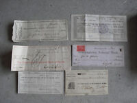 Lot of 6 Vintage 1889 to 1927 Chester County PA Cancelled Checks Stubs