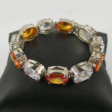 112.20 Ct Orange & White CZ Gemstone Bracelet 18cm Genuine 925 Sterling Silver