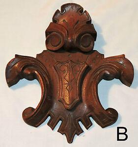 """Part- Choice- Six c1870 Renaissance Victorian carving, crest, walnut, 8-15""""t"""