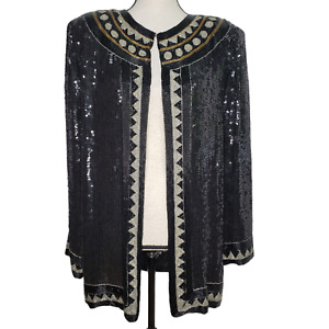 Sequin Beaded Cardigan Jacket Large Silk Black Formal Party Evening L/S