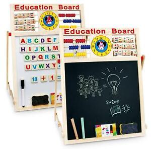 6 IN1 EDUCATIONAL ACTIVITY DRAWING BOARD KIDS EASEL WOODEN BLACKBOARD WHITEBOARD