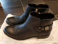 Tommy Hilfiger Women's Black Leather Ankle Boots Size UK 6.5
