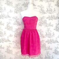 Lilly Pulitzer Payton Pop Pink Savvy Floral Organza Strapless Dress Size 0 $278