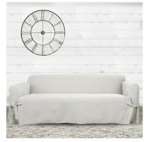 Farmhouse Basketweave Sofa Slipcover Oatmeal - Sure Fit 74 to 96 in