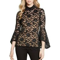 KAREN KANE NEW Women's Mock Neck Lace Bell Sleeve Blouse Shirt Top TEDO