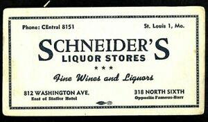 SCHNEIDER'S LIQUOR STORES Advertising Card St Louis MO by Famous Barr & Statler