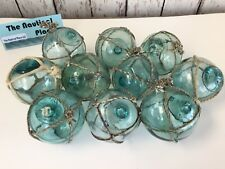 """(10) x 2.5"""" Japanese Glass Fishing Floats ~ With Netting ~ Authentic Old Vintage"""
