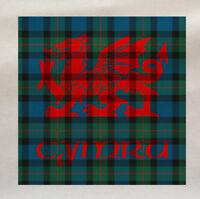 Welsh Dragon Cymru Tartan - Printed Fabric Panel Make A Cushion Upholstery Craft
