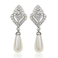 18K WHITE GOLD PLATED GENUINE AUSTRIAN CRYSTAL DANGLE PEARL CLIP-ON  EARRINGS