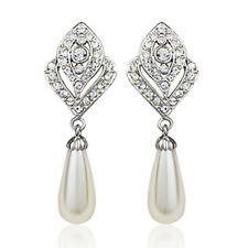 18K WHITE GOLD PLATED GENUINE AUSTRIAN CRYSTAL DANGLE PEARL STATEMENT EARRINGS