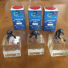 1972 SAPPORO OLYMPIC GAMES RARE STATUE X 3 SKI / ICE HOCKEY original packaging