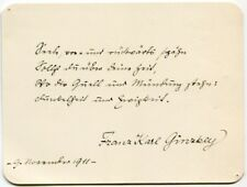 Franz Karl ginzkey-ORIG. Sign. AUTOGRAFO, 1911, autograph, signed