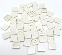 Lego 50 New White Tiles 2 x 2 with Groove Flat Smooth Pieces