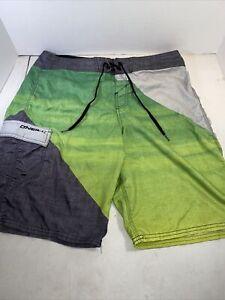 Men's O'Neil Board Shorts Swim Trunks Size 33 green/gray