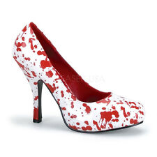 """Sexy Bloody White 5"""" Heels Halloween Gory Zombie Nurse Costume Shoes Pumps"""