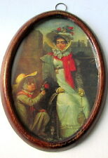 Beautiful Vintage Oval Framed Print Picture Victorian Scene Lady & child