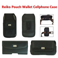 Reiko Samsung Galaxy s9+ Apple i7 i8+ Large Leather Pouch Black Clip Wallet Case