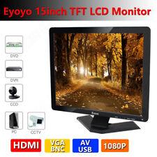 "15"" TFT LCD Widescreen CCTV Monitor 1024x768 BNC AV HDMI VGA For DVR CCTV DVR PC"