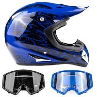 Adult Blue Helmet Motocross Combo Black Blue Goggles DOT OffRoad DirtBike ATV