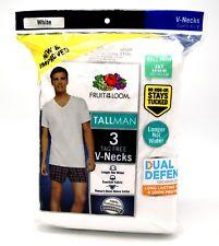 3 White Tall Man 3XT 54-56 Inch V-Neck T-Shirts Fruit Of The Loom 3EG 137-142 CM