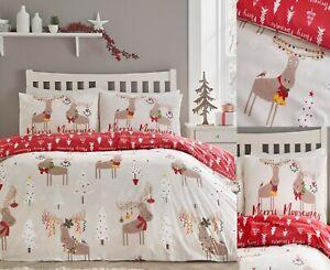 Christmas Moose Duvet Cover Sets, Festive Bedding Sets,Poly/Cotton,FREE P&P