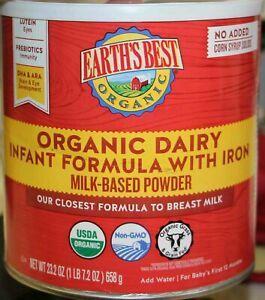 Earths Best ORGANIC Dairy Infant Baby Milk Powder Formula w Iron 23.2oz 05/5/23