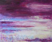 """Tableau abstrait Paysage marin Peinture originale signée HZEN, """"LA RIA""""  81X65cm"""