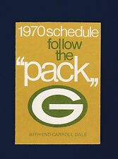 Green Bay Packers 1970 Football Schedule