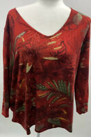 TanJay Women's Blouse Size 3X Red Tropical Floral Gemstones