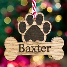 Personalised Christmas Tree Pet Dog Xmas Bauble Wooden Oak Ornament Bone Decor
