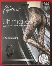 Couture Lace Totally Seamless Tights Pantyhose Xlarge Black