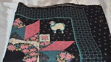 Springs Industries Panel of Patch Work Pillow Project Black with Flowers Animals