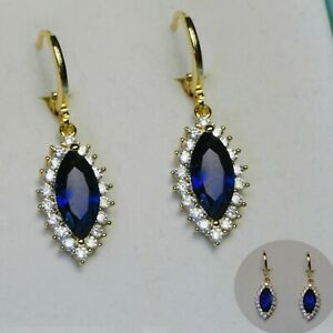 18k GF Blue Marquise Drop Dangle Earrings Made With Swarovski Crystals, Boxed