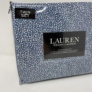 Lauren Ralph Lauren TWIN Sheet Set Floral, White Flowers, Blue 3pc 100% Cotton