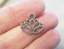 10 Lotus Flower Charms, Meditation Charms - 15mm -  Metal Antique Silver
