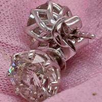 14K White Gold Finish 4Ct Round Cut Moissanite Push Back Solitaire Stud Earrings