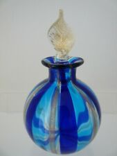 Murano Glass Perfume / Scent Bottle with Stopper.  Dark Blue, Turquoise and Gold