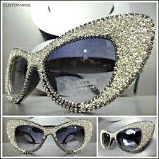 Oversize Exaggerated Retro Cat Eye Style SUN GLASSES Unique Frame Bling Crystals