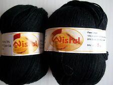 Wisful 6-ply silky baby yarn, Black (#14), lot of 2 (216 yds each)