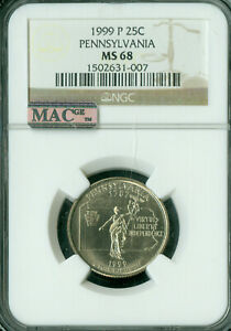1999-P PENNSLYVANIA QUARTERS NGC MAC MS68 MAC SPOTLESS ONLY 1 FINER *